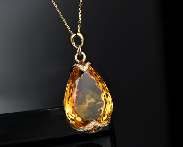 45ct Natural Yellow Citrine in 18K Gold Pendant